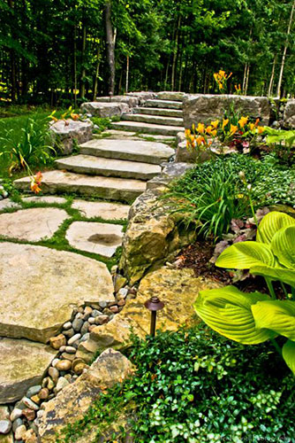 residential landscaping stone path